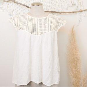 H&M Geometric Cutout Neckline White Flowy Blouse